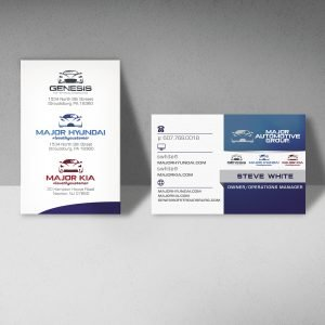 business card design for brand Major Automotive Group