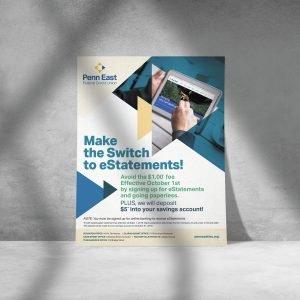 flyer design for Penn East Credit Union brand