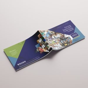 horizontal annual report design for brand The Wright Center