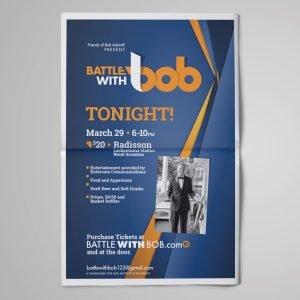 flyer design for Battle with Bob fundraiser