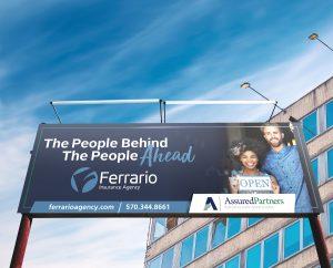 billboard design for brand Ferrario Insurance Agency