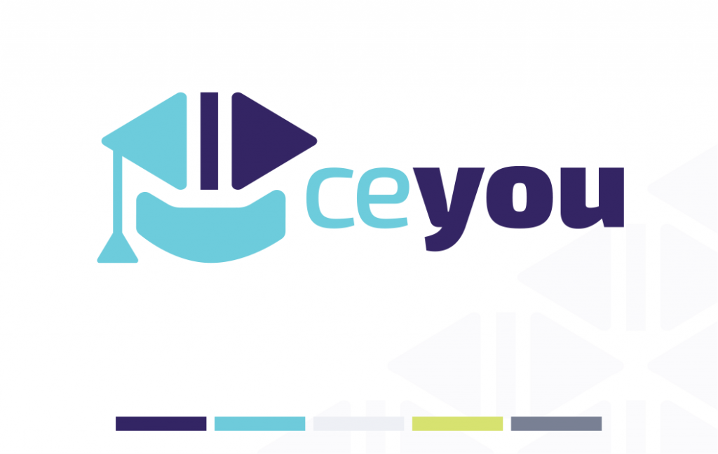 graphic design logo for CE You with color palette