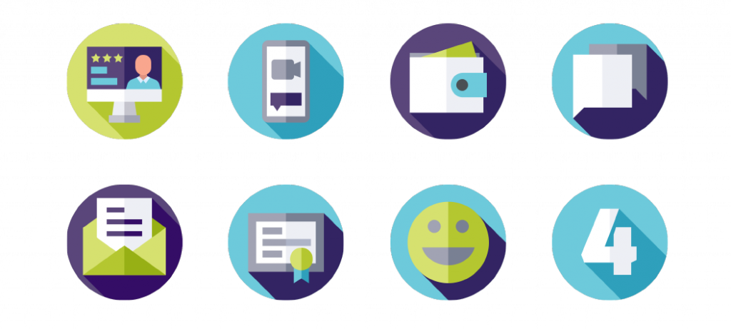 icons depicting different modes of communication as part of graphic design for CE You