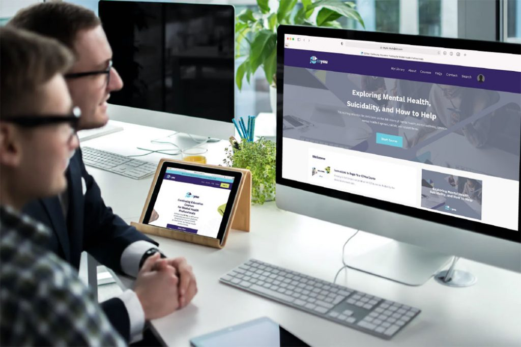 men accessing educational resources on CE You website on desktop and mobile platforms