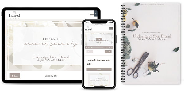 desktop and mobile webpage and supplemental booklet for understand your brand course